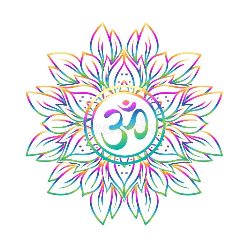 Diwaliom symbool met mandala Rond patroon Uitstekend stijldec stock illustratie