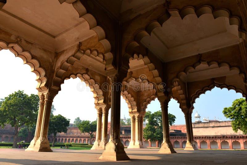 Diwan-i-Förmiddag av den Agra forten royaltyfria bilder