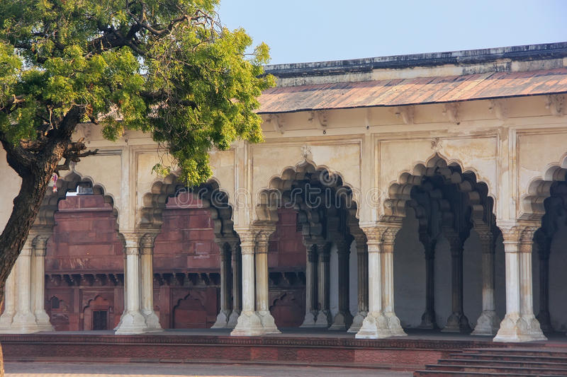 Diwan-i-Am - Hall of Public Audience in Agra Fort, Uttar Pradesh, India. The fort was built primarily as a military structure, but was later upgraded to a stock photo