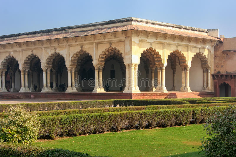 Diwan-i-Am - Hall of Public Audience in Agra Fort, Uttar Pradesh, India. The fort was built primarily as a military structure, but was later upgraded to a royalty free stock images