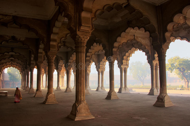 Diwan-i-Am - Hall of Public Audience in Agra Fort, Uttar Pradesh, India. The fort was built primarily as a military structure, but was later upgraded to a stock photos