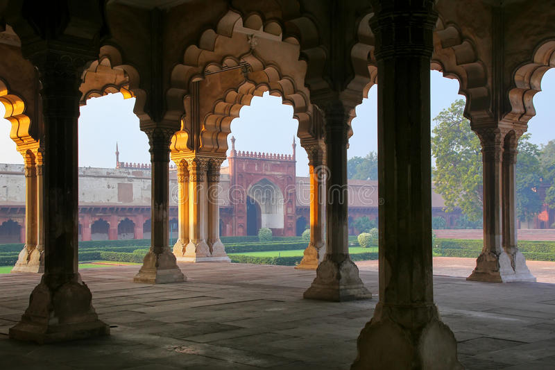 Diwan-i-Am - Hall of Public Audience in Agra Fort, Uttar Pradesh, India. The fort was built primarily as a military structure, but was later upgraded to a royalty free stock photos