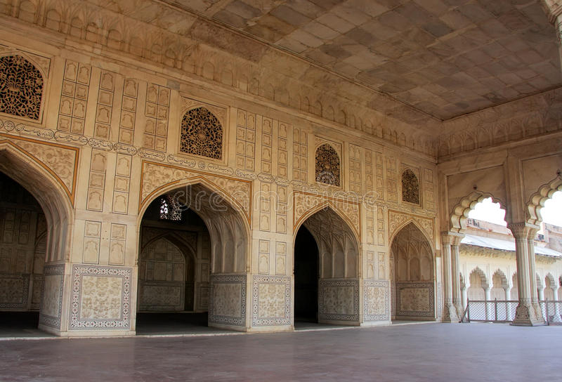 Diwan-i- Khas (Hall of Private Audience) in Agra Fort, Uttar Pradesh, India. The fort was built primarily as a military structure, but was later upgraded to a royalty free stock photography