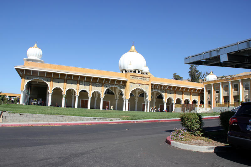 Diwan Salão de Gurdwara sikh, San Jose, Califórnia, EUA imagem de stock