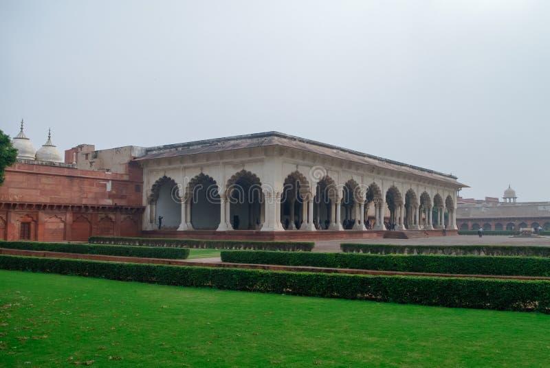 Diwane Aam, Zaal van Openbaar Publiek in Rood Agra-Fort Agra, Utt royalty-vrije stock afbeeldingen