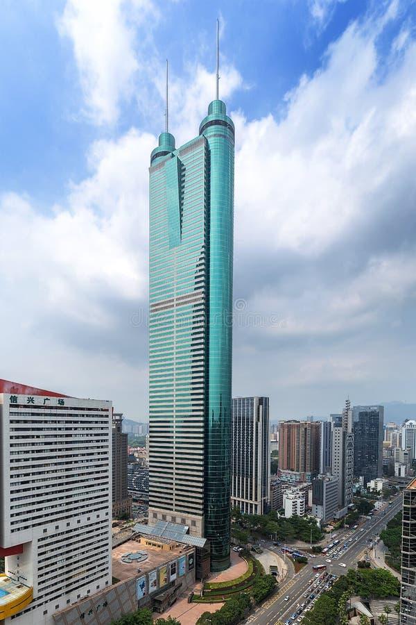 Diwang Building, Shenzhen, China modern architecture with blue sky. Shenzhen, China. Shun Hing Square, also named Diwang Building in Shenzhen, is a 384-metre stock photo