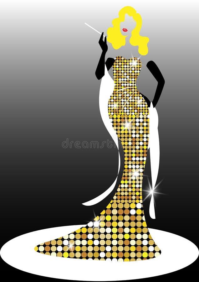 Diwy Hollywood sylwetka, Pięknej retro mody blond kobieta, tytułowanie i wieczór sukni 1940s 1950s, royalty ilustracja