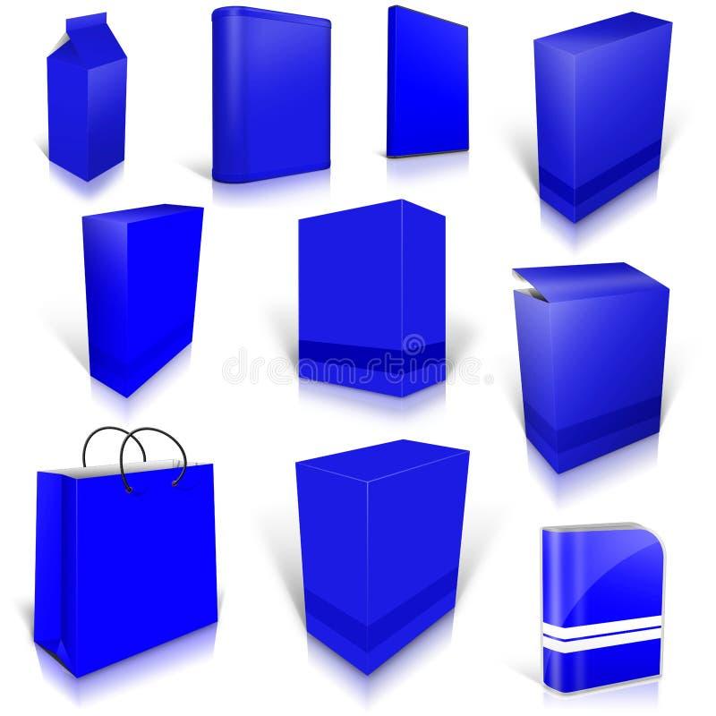 Dix boîtes vides bleues d'isolement sur le blanc illustration de vecteur