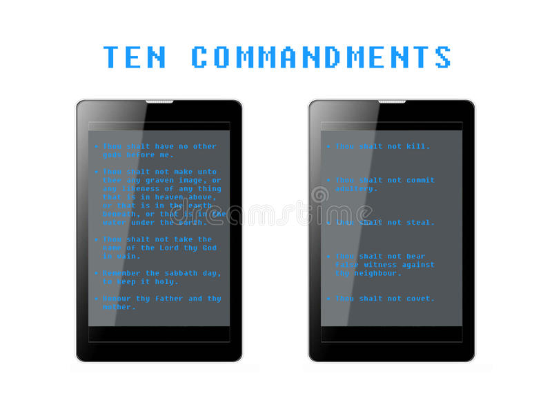 Dix commandements Phablets illustration stock