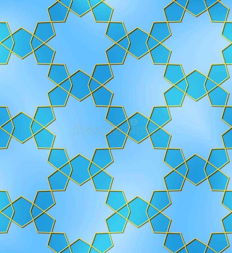 Dix d'or bleus dirigés de modèle sans couture d'étoile illustration de vecteur