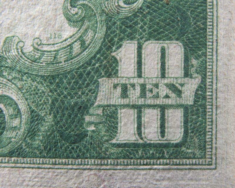 Dix 10 dollars de devise des USA photo stock