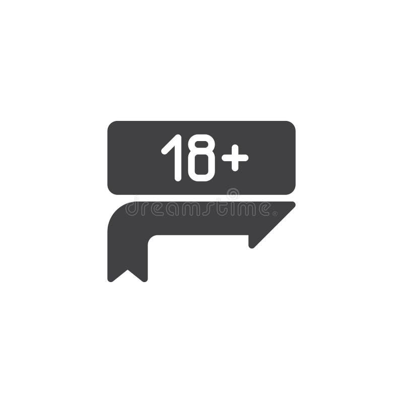 Dix-huit plus, limite d'âge, icône de vecteur de signe illustration de vecteur