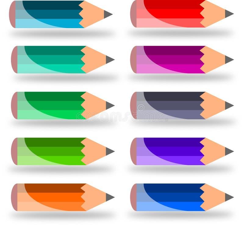 Dix petits crayons images libres de droits