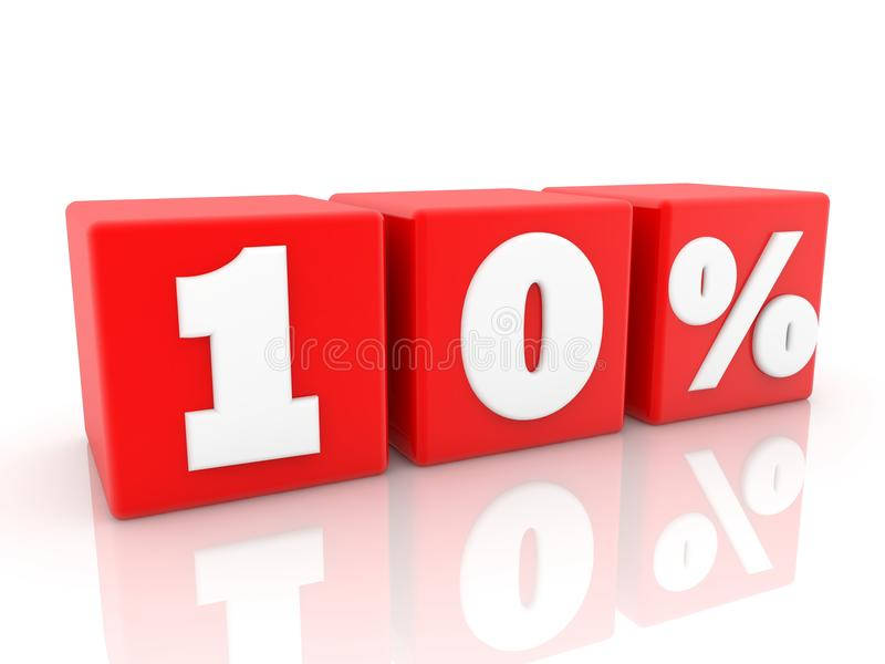 Dix pour cent de concept sur les cubes rouges illustration 3D illustration de vecteur