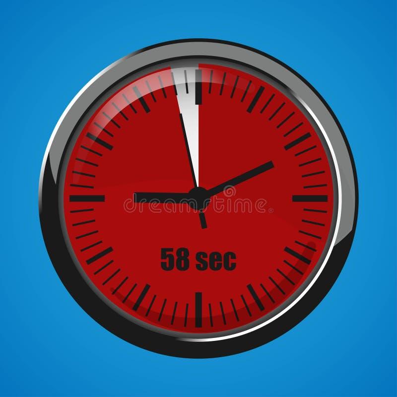 Dix-sept secondes synchronisent sur le fond bleu Icône de l'horloge 3d illustration stock
