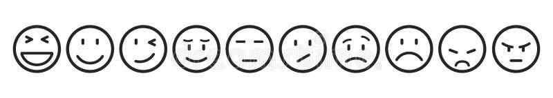 Dix smilies, ont placé l'émotion souriante, par des smilies, des émoticônes de bande dessinée - vecteur illustration libre de droits