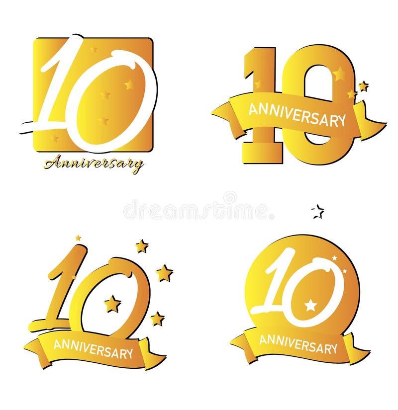 Dixièmes icônes d'anniversaire illustration libre de droits