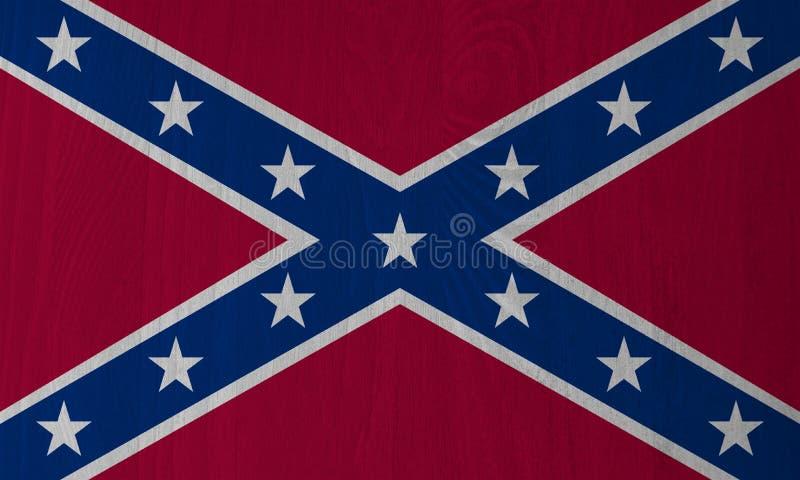 Dixie, bandera confederada en un fondo de madera stock de ilustración