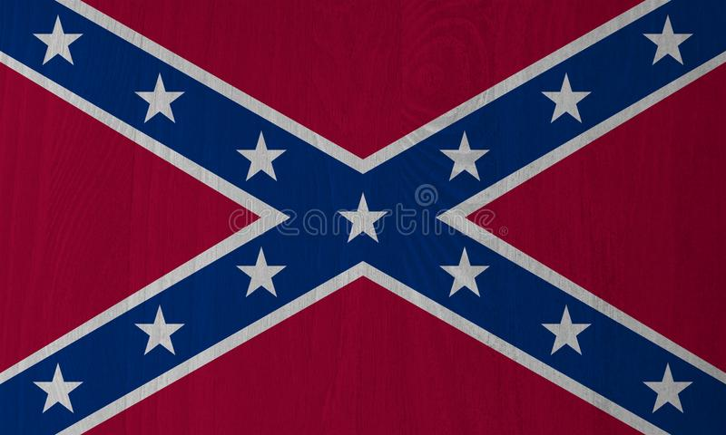 Dixie förbundsmedlemflagga på en Wood bakgrund stock illustrationer