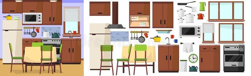 DIY厨房建造者集合 在平的样式的现代厨房建设者与家具和厨房供应 木厨房门面, 皇族释放例证