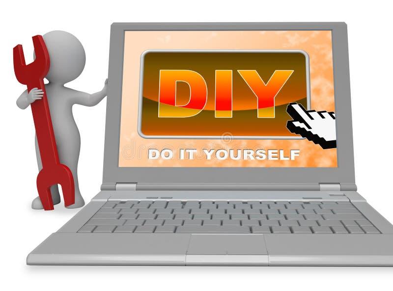 Diy按钮Represents做它你自己和承包商3d翻译 库存例证