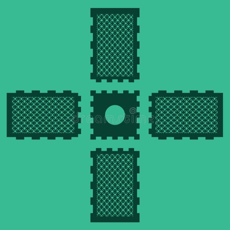 DIY激光切口蜡烛台的传染媒介计划 木刻灯笼胶合板3mm 希腊几何设计 库存例证