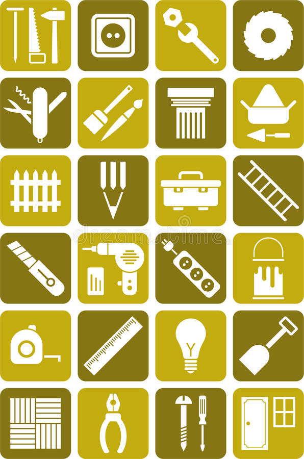 DIY用工具加工图标 皇族释放例证