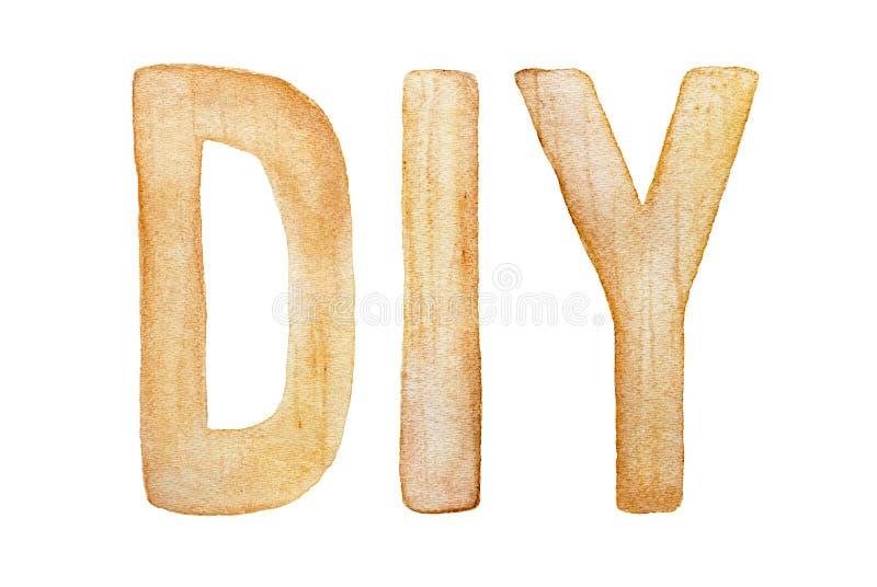 DIY το κάνει οι ίδιοι επιγραφή λέξης, τυποποιημένη ως ξύλινες επιστολές στοκ εικόνες