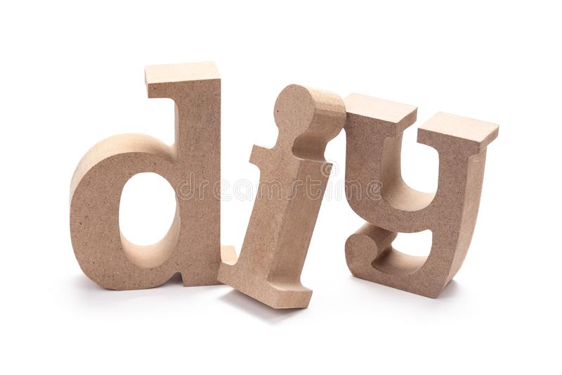 DIY Wood Letters. DIY abrreviation wood letters on white background Do It Yourself stock image