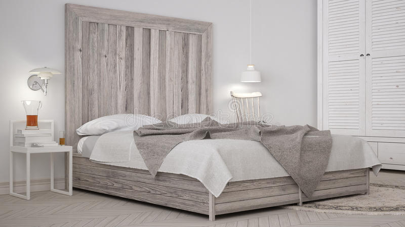 DIY bedroom, bed with wooden headboard, scandinavian white eco c royalty free stock photography