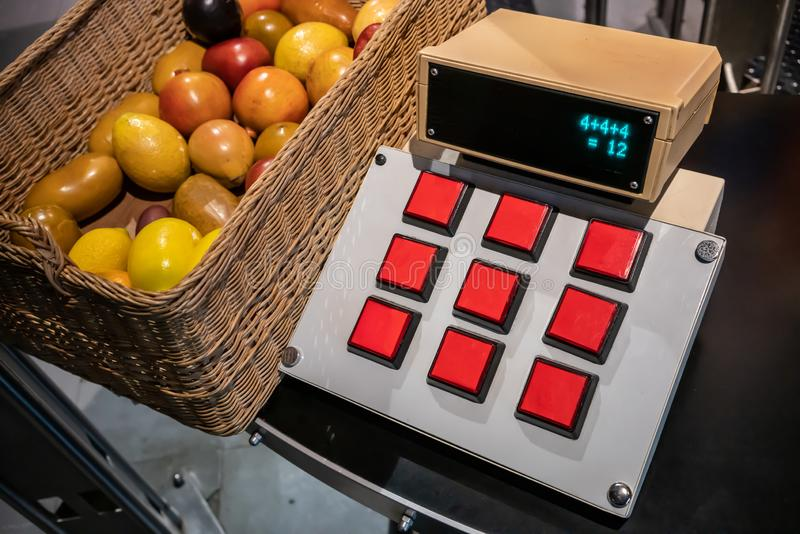 DIY Calculator with red buttons for study or display stock photos