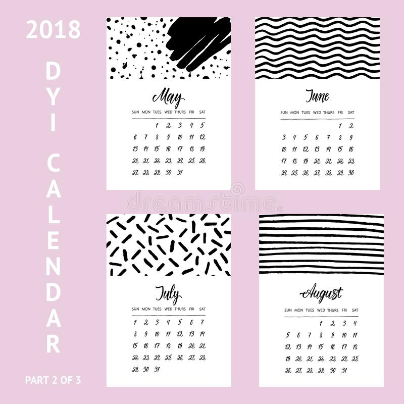Diy Calendar Template 2018 Part 2of3 In Minimalistic Style With