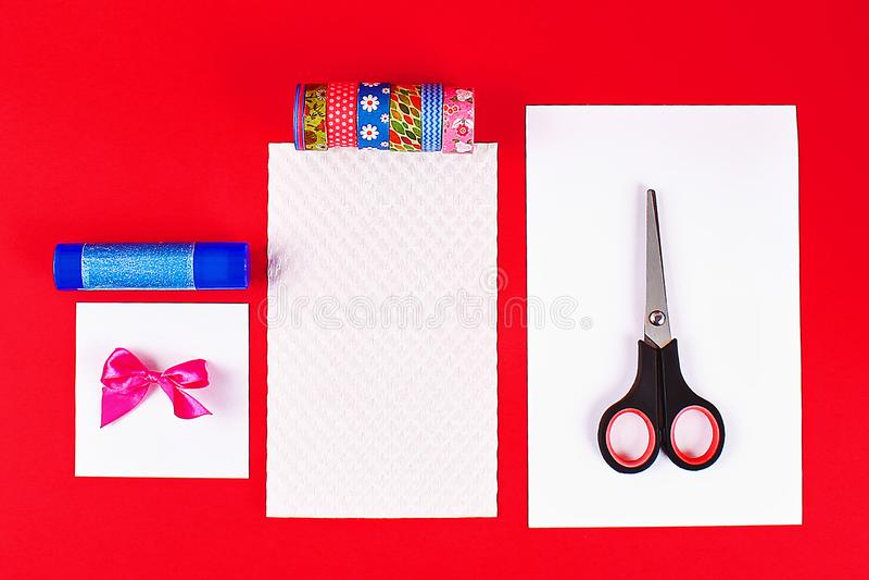 DIY card Happy birthday. Gift on a postcard scotch stock photography