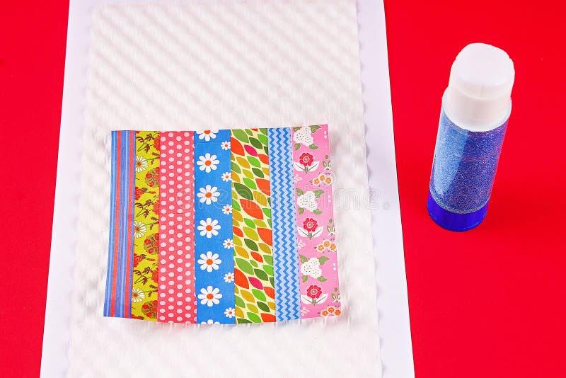 DIY card Happy birthday. Gift on a postcard scotch royalty free stock image