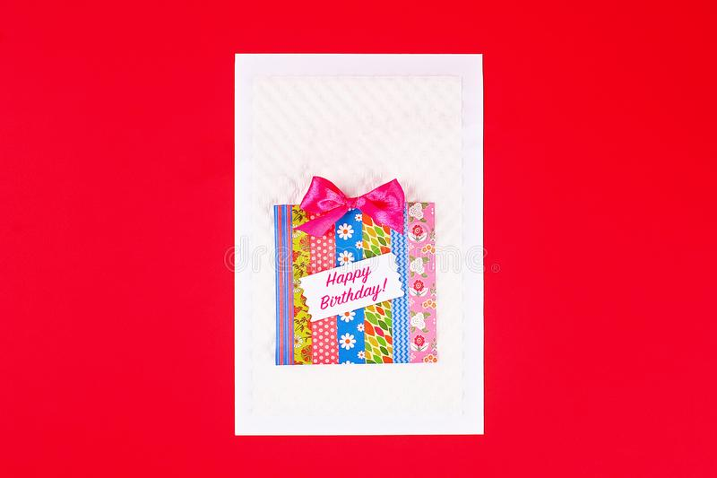 DIY card Happy birthday. Gift on a postcard scotch royalty free stock images