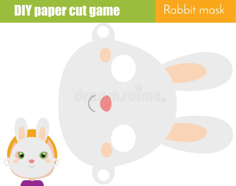 DIY children educational creative game. Make an animal party mask with scissors. Rabbit face paper mask for kids printable sheet stock illustration