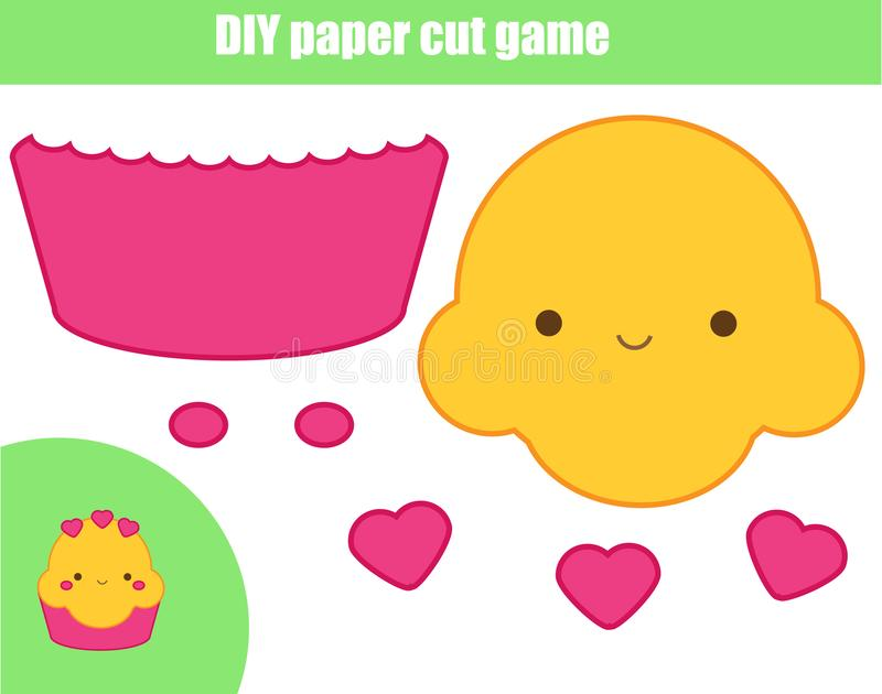 DIY children educational creative game. Paper cutting activity. Make a cute cupcake with glue and scissors royalty free illustration