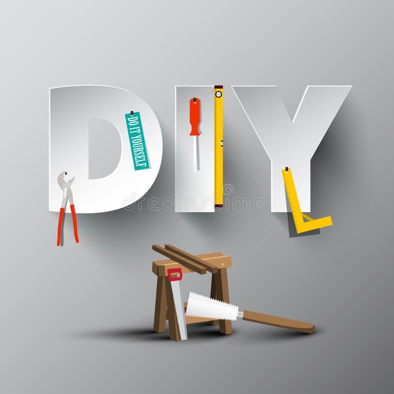 DIY - Doe het zelf Document Besnoeiingsbrieven met Hulpmiddelen stock illustratie
