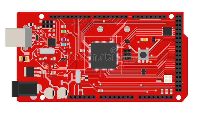 DIY electronic mega board with a microprocessor, interfaces, LEDs, connectors, and other electronic components, to form stock illustration