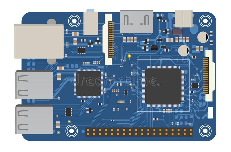 DIY electronic mega board with a microprocessor, interfaces, LEDs, connectors, and other electronic components, to form royalty free illustration