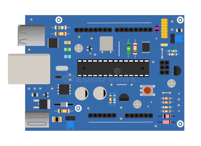 DIY electronic mega board with a microprocessor, interfaces, LEDs, connectors, and other electronic components, to form vector illustration