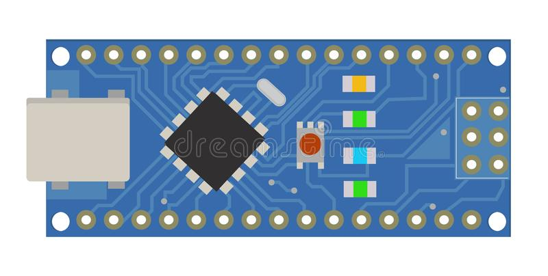 DIY electronic mini board with a micro-controller, LEDs, connectors, and other electronic components, to form the basic stock illustration