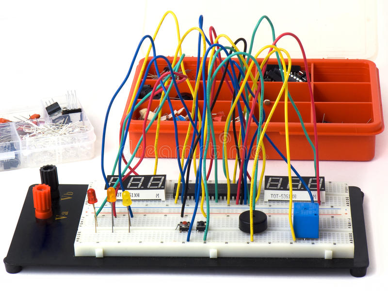 DIY electronics on breadboard (raster). Electronic components etc royalty free stock images