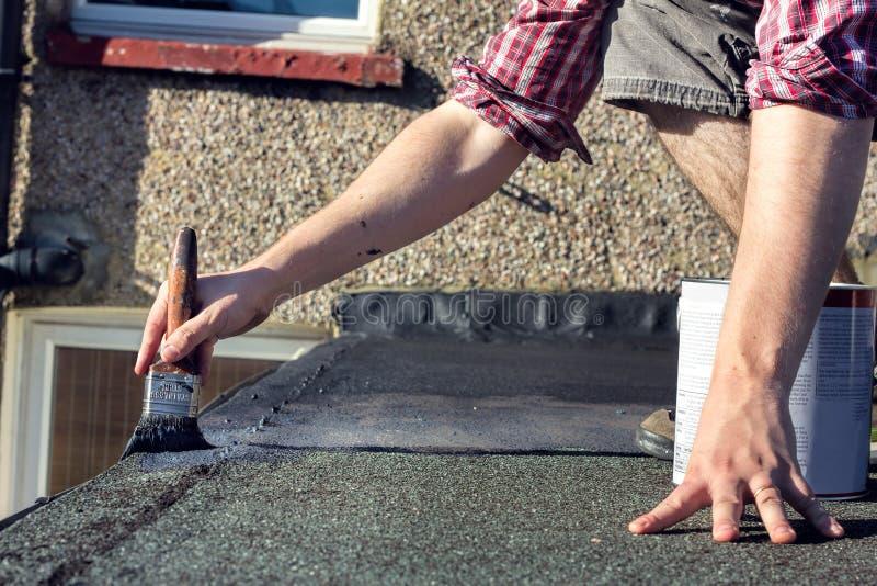 DIY Försegla taket, hem- underhållsförbättring royaltyfri bild
