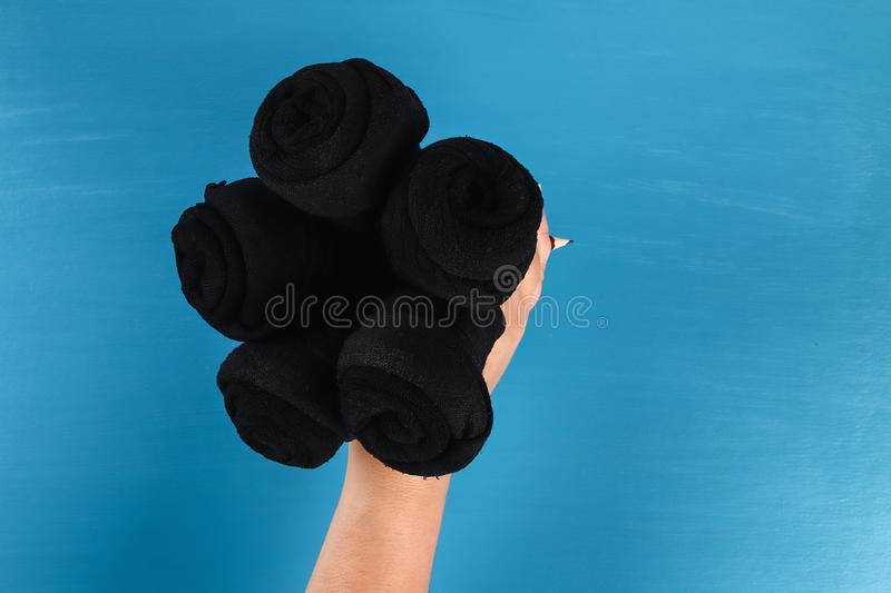 Diy father's day bouquet black roses socks blue background. Gift idea, decor Father day, Daddy. 7 Diy father's day bouquet black roses socks blue background royalty free stock photos