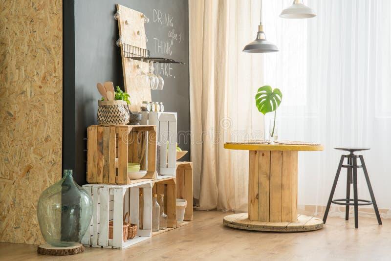 DIY furniture in eco cafe stock image