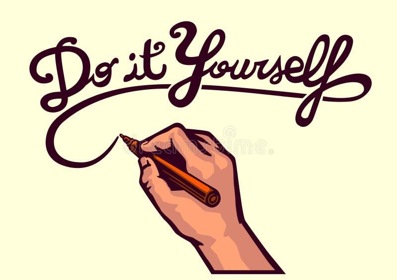 ¡DIY! Hágalo usted mismo, concepto creativo hecho a mano de la artesanía de la escritura de la mano de la escritura del vector stock de ilustración