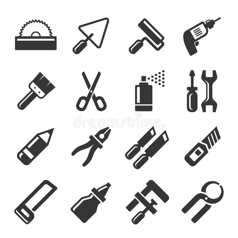 DIY-Handwerkzeug-Ikonen eingestellt Vektor vektor abbildung