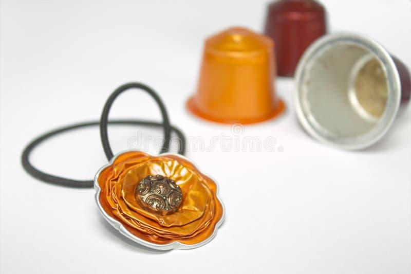 DIY-hantverk som göras med espressokapslar arkivfoton
