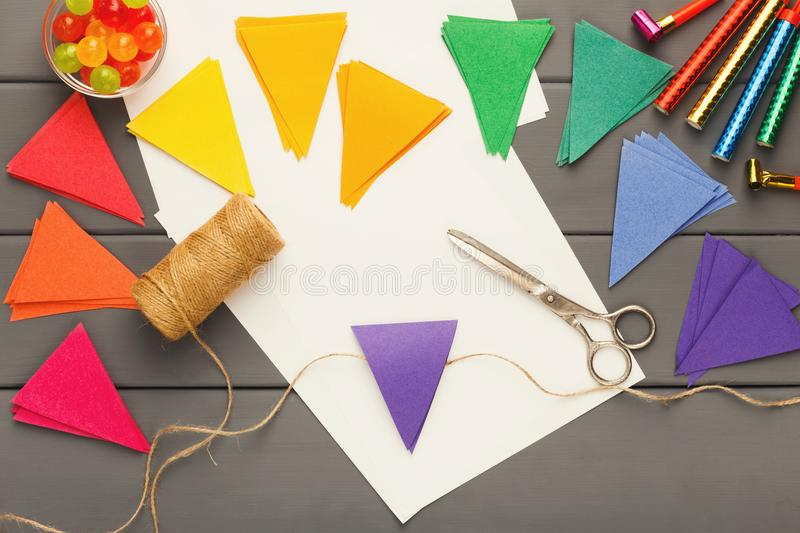 Download DIY Holiday Background Birthday Party Decorations Stock Photo
